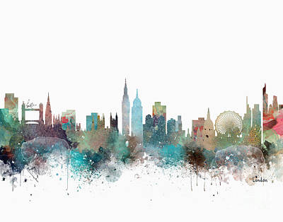 Painting - London City Skyline  by Bleu Bri