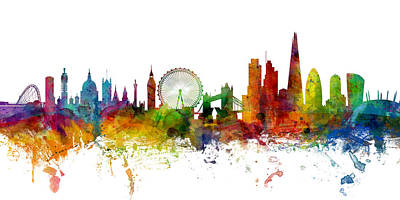 United Kingdom Digital Art - London England Skyline Panoramic by Michael Tompsett