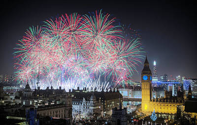 Photograph - London New Year Fireworks Display by Stewart Marsden