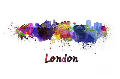 London Skyline Painting - London Skyline In Watercolor by Pablo Romero