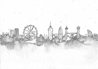 London Skyline Drawing - London Skyline by Sweeping Girl