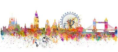 London Skyline Mixed Media - London Skyline Watercolor by Michal Boubin