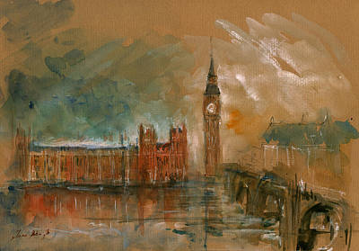 Big Ben Painting - London Watercolor Painting by Juan  Bosco