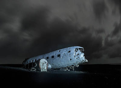 Tina Turner - Lone plane in the middle of nowhere at night, Iceland by Pradeep Raja PRINTS