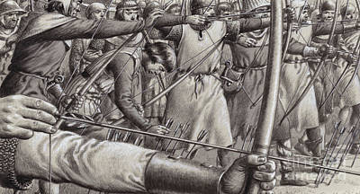 Scotland Painting -   Longbowmen At The Battle Of Falkirk by Pat Nicolle