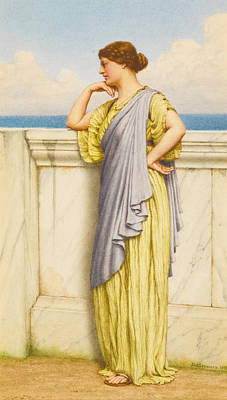 Drawing - Looking Out To Sea by John William Godward