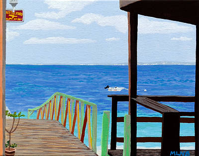 St. Maarten Painting - Lookout Along Grand Case Beach by Margaret Brooks