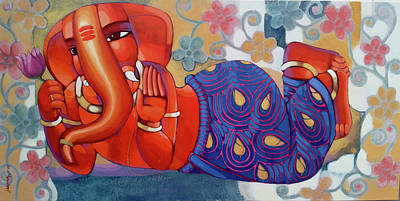 Indian Contemporary Artist Painting - Lord Ganesha by Sekhar Roy