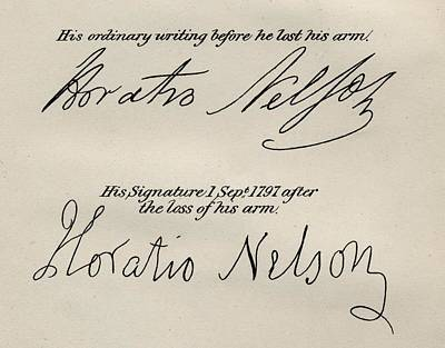 Lord Drawing - Lord Nelsons  Signatures. Horatio by Vintage Design Pics