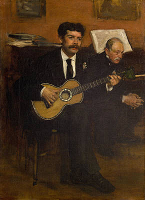 Guitar Painting - Lorenzo Pagans And Auguste De Gas by Edgar Degas