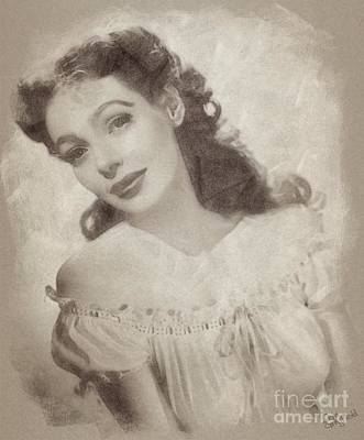 Musicians Drawings Rights Managed Images - Loretta Young, Actress Royalty-Free Image by Esoterica Art Agency