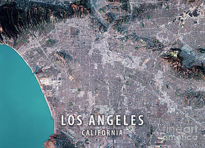 Los Angeles 3d Render Satellite View Topographic Map Art Print