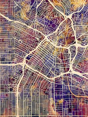 Los Angeles City Street Map Art Print by Michael Tompsett