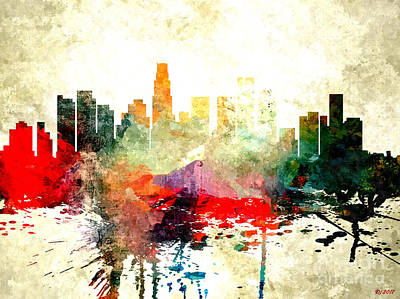 Los Angeles Skyline Mixed Media - Los Angeles by Daniel Janda