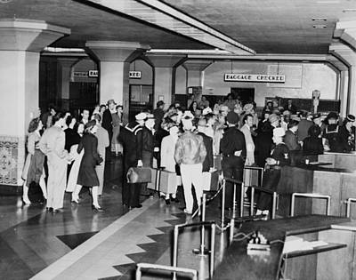 1940s Candid Photograph - Los Angeles, Union Station Interior by Everett
