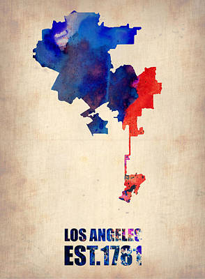 Los Angeles Mixed Media - Los Angeles Watercolor Map 1 by Naxart Studio