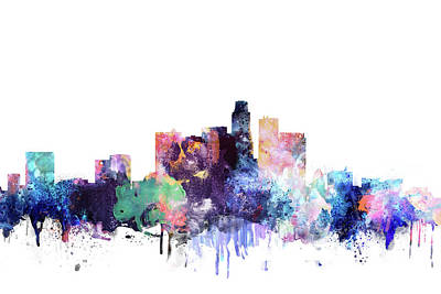 Los Angeles Skyline Painting - Los Angeles Watercolor Skyline by Dim Dom