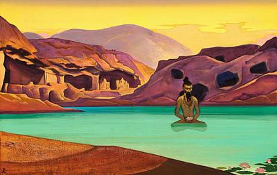 Mystical Landscape Painting - Lotus by Nicholas Roerich