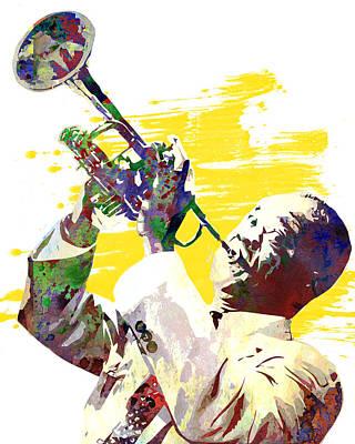 Rhythm And Blues Digital Art - Louis Armstrong by Elena Kosvincheva