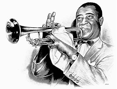 Digital Art Rights Managed Images - Louis Armstrong Royalty-Free Image by Greg Joens