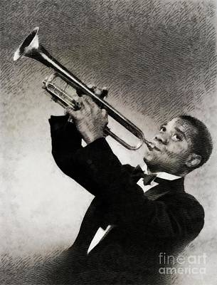 Jazz Royalty Free Images - Louis Armstrong, Music Legend Royalty-Free Image by John Springfield