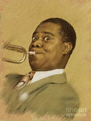 Painting - Louis Armstrong, Music Legend by Mary Bassett