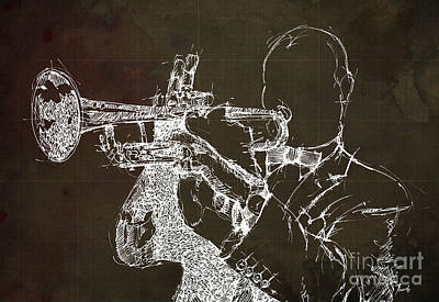 Trumpet Drawing - Louis Armstrong On Stage by Pablo Franchi