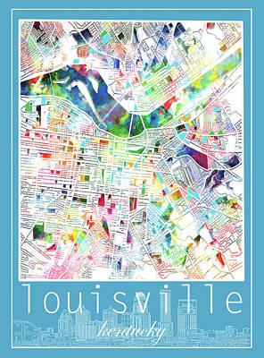 Digital Art - Louisville Kentucky City Map 4 by Bekim Art