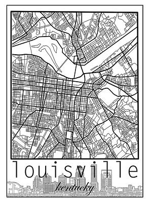 Digital Art - Louisville Kentucky City Map 6 by Bekim Art