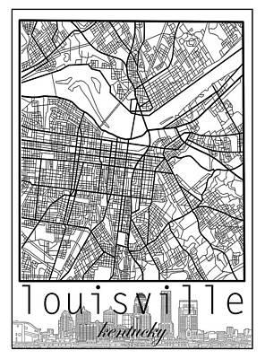 Louisville Kentucky City Map 6 Art Print