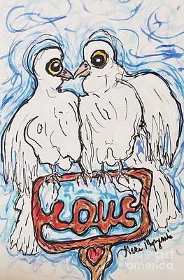 Watercolor Pet Portraits Mixed Media - Love Birds by Geraldine Myszenski