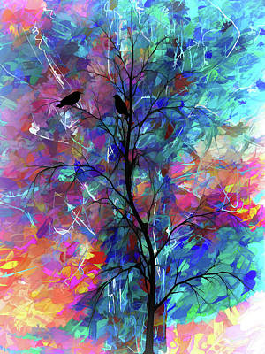 Digital Art - Love Birds  by OLena Art Brand