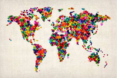 Love Hearts Map Of The World Map Art Print by Michael Tompsett