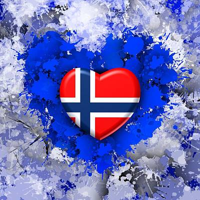 Patriot Digital Art - Love Norway by Alberto RuiZ