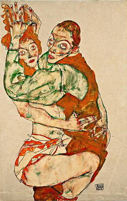 Love Making Painting - Lovemaking 1915 by Egon Schiele