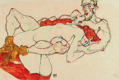 Love Making Painting - Lovers 1913 by Egon Schiele