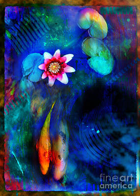 Blue Abstracts Mixed Media - Lovers by Gina Signore