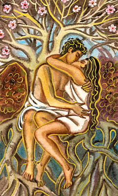 Lovers Kissing Each Other Under A Blooming Tree Art Print