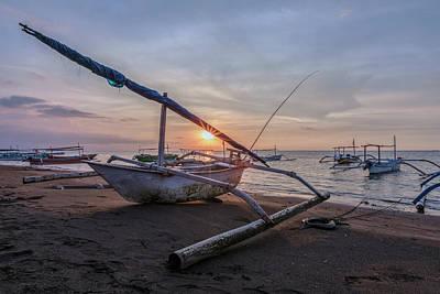Canoe Photograph - Lovina - Bali by Joana Kruse