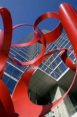 Blue Modern Art Photograph - Low Angle View Of A Sculpture In Front by Panoramic Images