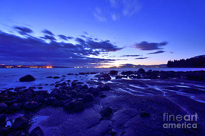 Photograph - Low Tide Sunset At English Bay - Vancouver Bc by Terry Elniski