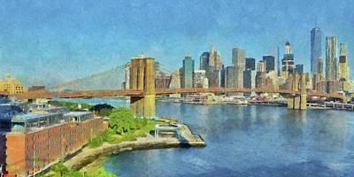 Digital Art - Lower Manhattan And The Brooklyn Bridge by Digital Photographic Arts