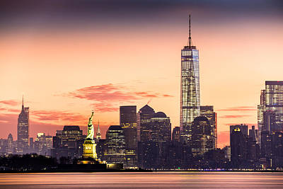 Lower Manhattan And The Statue Of Liberty At Sunrise Art Print