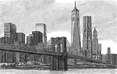 Digital Art - Lower Manhattan Skyline by Steve Breslow