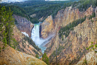 Photograph - Lower Yellowstone Falls by John M Bailey
