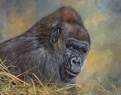 Wall Art - Painting - Lowland Gorilla by David Stribbling