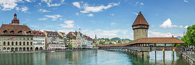 Lucerne Chapel Bridge And Water Tower - Panoramic Art Print by Melanie Viola