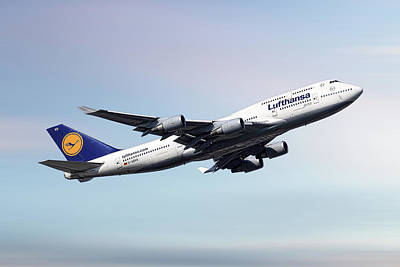 Mixed Media - Lufthansa Boeing 747-430 by Smart Aviation