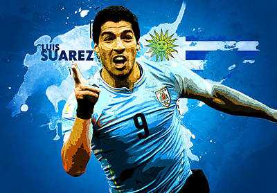 Soccer Digital Art - Luis Suarez by Semih Yurdabak