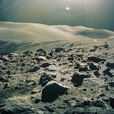 Lunar Rover At Rim Of Camelot Crater Art Print by NASA / Science Source